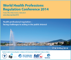 Conference logo of World Health Professions Regulation Conference 2014, Geneva 2014